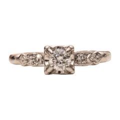 Vintage .25 Carat Platinum Retro 3-Stone Diamond Engagement Ring
