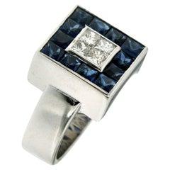 Vintage 2.50 Carat Sapphire 1 Carat Diamond Gold Ring