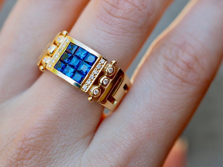 Vintage 2.50 Carat Sapphire and Diamond Cocktail Ring in 18 Karat Yellow Gold In Excellent Condition For Sale In Addison, TX
