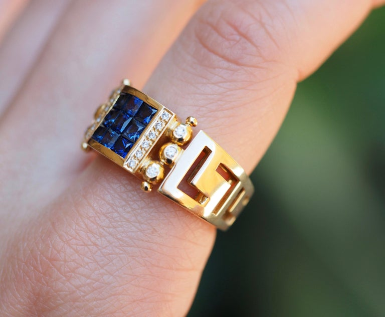 Vintage 2.50 Carat Sapphire and Diamond Cocktail Ring in 18 Karat Yellow Gold For Sale 3