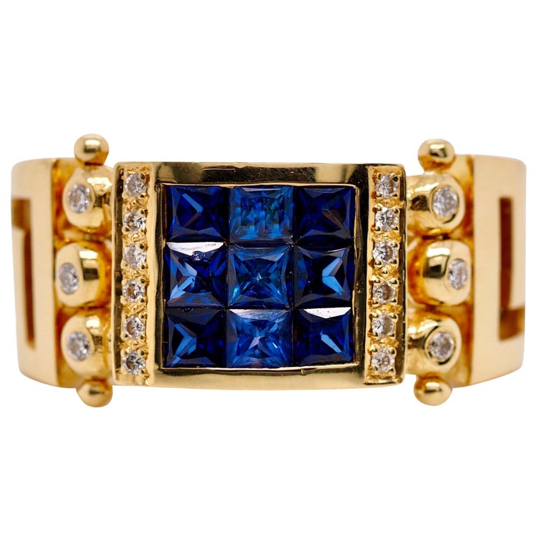 Vintage 2.50 Carat Sapphire and Diamond Cocktail Ring in 18 Karat Yellow Gold For Sale