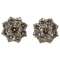 Vintage 2.6 Carat Diamond White Gold Flower Stud Earrings