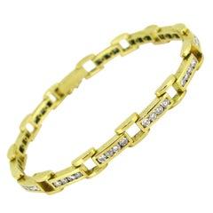 Vintage 2.60 Carat Diamonds Tennis Bracelet, 18 Karat Yellow Gold, France
