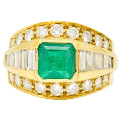 Vintage 2.60 Carat Emerald Diamond 18 Karat Yellow Gold Band Ring