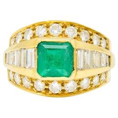 Vintage 2.60 Carat Emerald Diamond 18 Karat Yellow Gold Band Ring