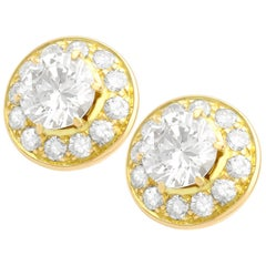 Vintage 2.65 Carat Diamond and 18k Yellow Gold Illusion Earrings