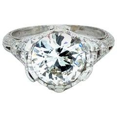 Vintage 2.65 Carat Diamond Platinum Engagement Ring