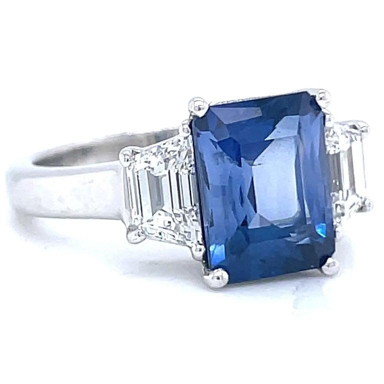 Emerald Cut Vintage 2.65 Carat Sapphire Diamond Platinum Ring