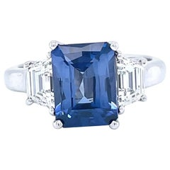 Vintage 2.65 Carat Sapphire Diamond Platinum Ring