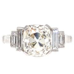 Vintage 2.67 Carat Old Mine Cut Diamond Platinum Engagement Ring
