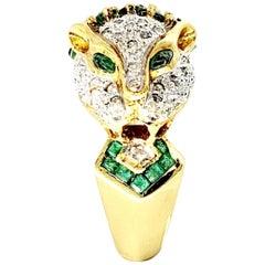 Vintage 2.70 Carat Diamond and Emerald Panther Ring