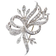 Vintage 2.70 Carat Diamond Platinum Brooch
