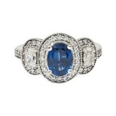 Vintage 2.70 Carats Sapphire Diamond 18 Karat White Gold Triple Cluster Ring