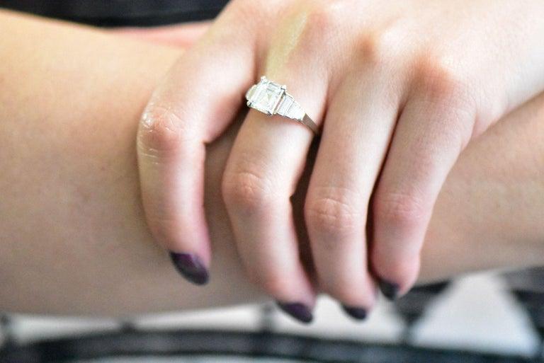 Retro 2.71 Carats Emerald Cut Diamond Platinum Engagement Ring GIA 5