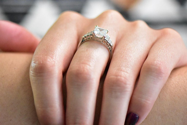 Retro 2.71 Carats Emerald Cut Diamond Platinum Engagement Ring GIA 6