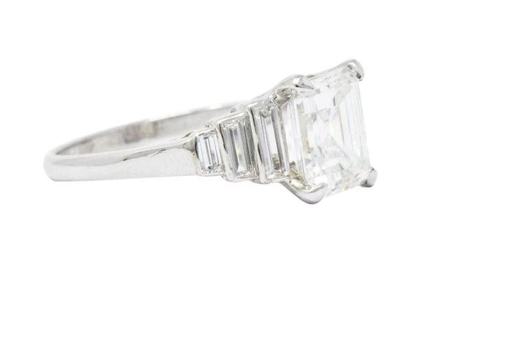 Art Deco Retro 2.71 Carats Emerald Cut Diamond Platinum Engagement Ring GIA