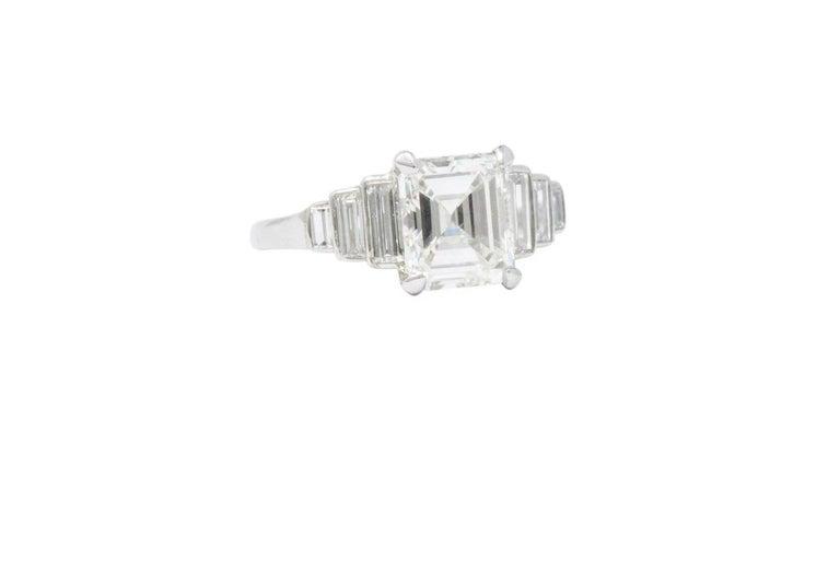 Retro 2.71 Carats Emerald Cut Diamond Platinum Engagement Ring GIA In Excellent Condition In Philadelphia, PA