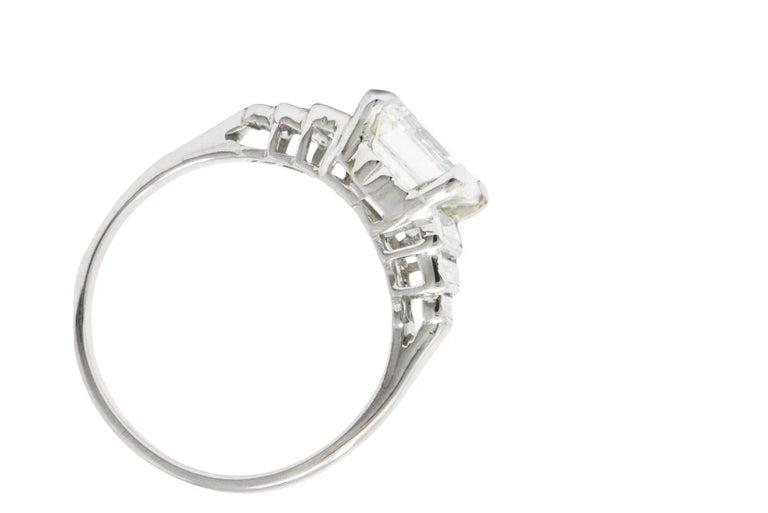 Women's Retro 2.71 Carats Emerald Cut Diamond Platinum Engagement Ring GIA