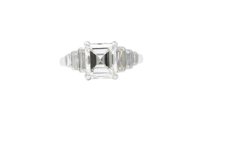 Retro 2.71 Carats Emerald Cut Diamond Platinum Engagement Ring GIA 1