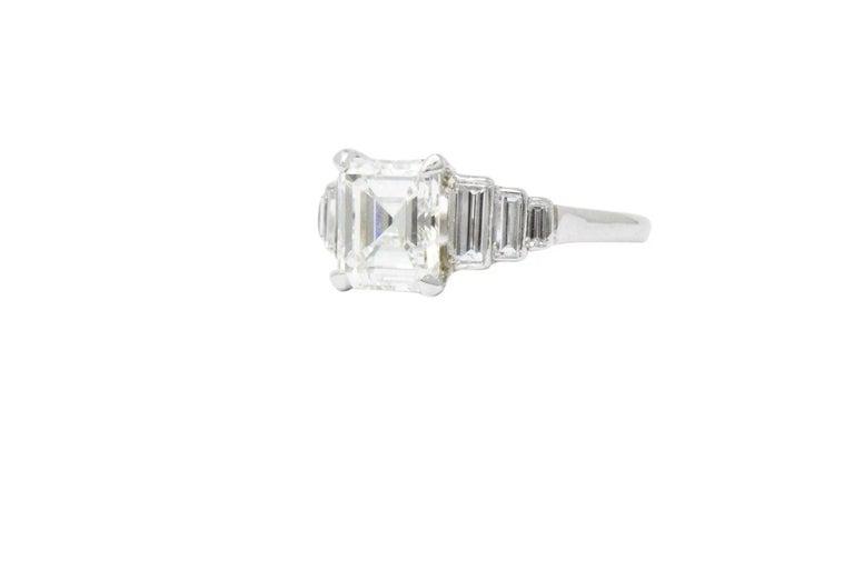 Retro 2.71 Carats Emerald Cut Diamond Platinum Engagement Ring GIA 2