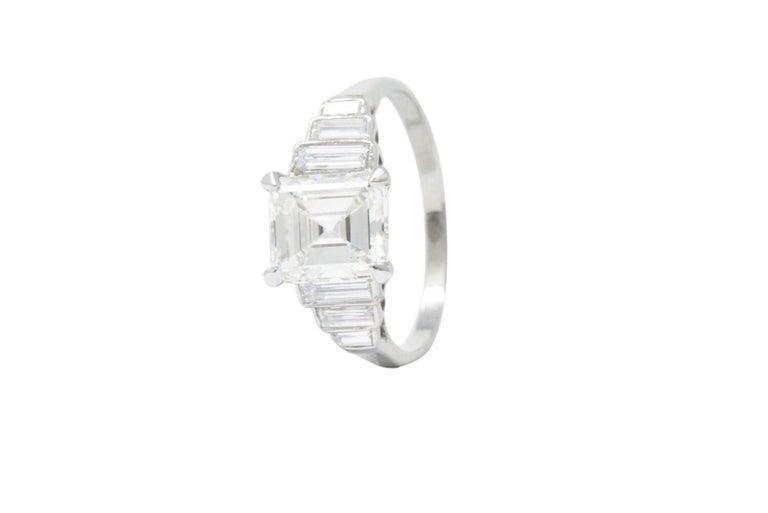 Retro 2.71 Carats Emerald Cut Diamond Platinum Engagement Ring GIA 3