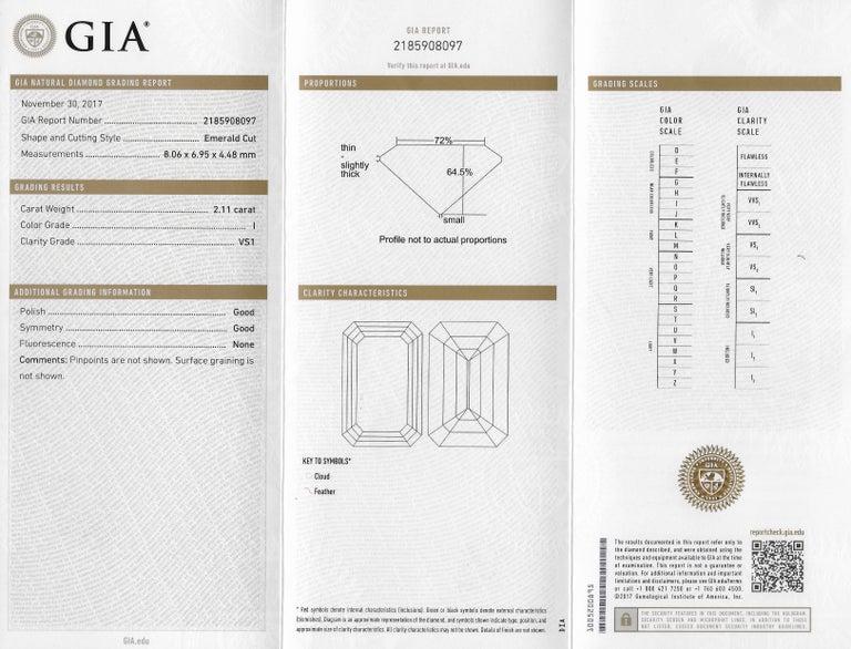 Retro 2.71 Carats Emerald Cut Diamond Platinum Engagement Ring GIA 4