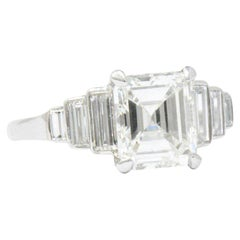 Vintage  2.71 Carat Emerald Cut Diamond  Platinum Engagement Art Deco Ring GIA