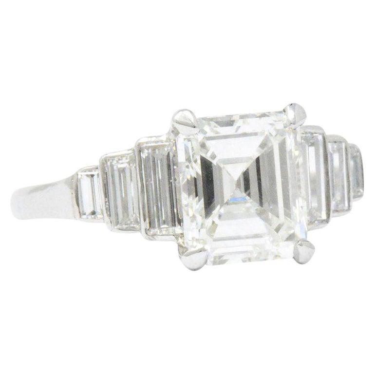 Retro 2.71 Carats Emerald Cut Diamond Platinum Engagement Ring GIA
