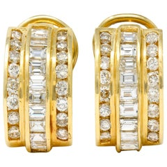 Vintage 2.75 Carat Diamond 14 Karat Gold Channel Set J Hoop Earrings