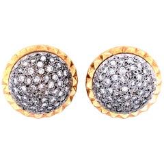Vintage 2.75 Carat Diamond 14 Karat Gold Convertible Button Earring, circa 1960