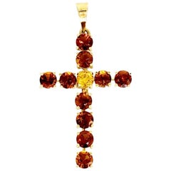 Vintage 2.75 Carat Topaz Gemstones 18 Karat Gold Cross Pendant
