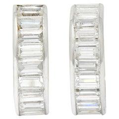 Vintage 2.75 Carats Diamond Platinum Huggie Hoop Earrings