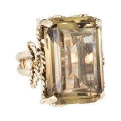 27 Carat Yellow Quartz Ring 14 Karat Gold Large Emerald Cut Estate Jewelry