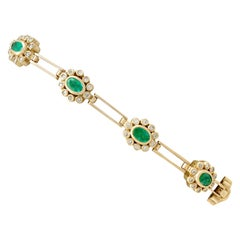 Vintage 2.85 Carat Emerald, 2.25 Carat Diamond and Yellow Gold Bracelet