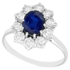 Vintage 2.87 Carat Sapphire and Diamond White Gold Cluster Ring