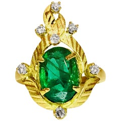 Vintage 2.89 Carat Emerald Diamond Cocktail Ring