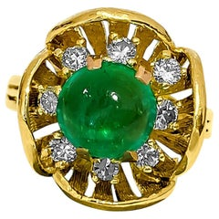 Vintage 2.90 Carat Emerald and Diamond Ring in Yellow Gold