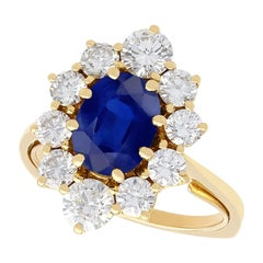 Vintage 2.90 Carat Sapphire and 1.62 Carat Diamond 18k Yellow Gold Cluster Ring