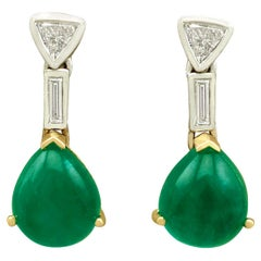 Vintage 2.96 Carat Emerald Diamond Yellow Gold Drop Earrings