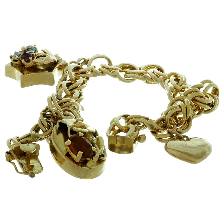 Vintage 3 Charm Gemstone Yellow Gold Open Link Bracelet