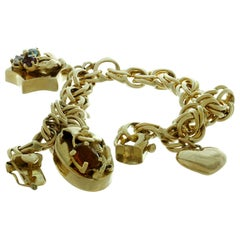 Vintage 3 Charm Gemstone Yellow Gold Open Link Bracelet