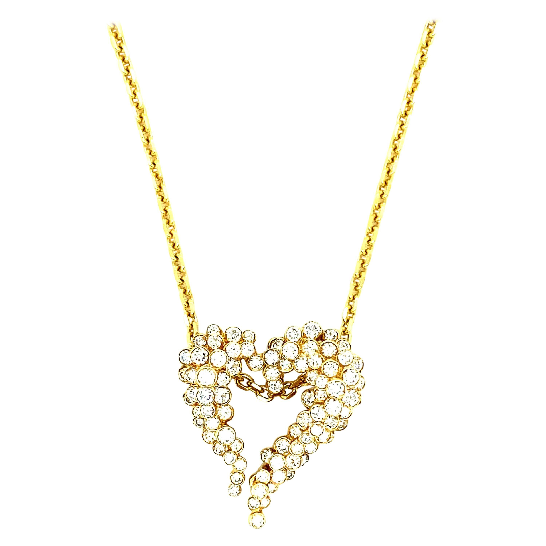 Vintage 3 Ct Diamonds Heart Pendant 18kt Yellow Gold