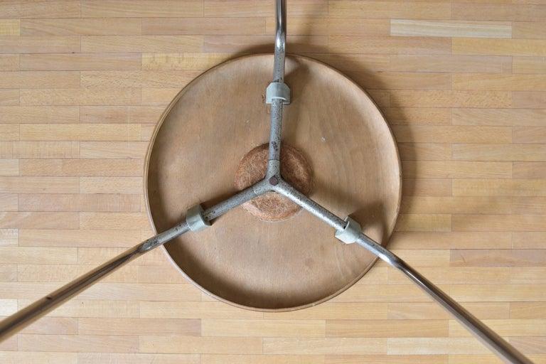 20th Century Vintage 3 Dot Stool in Teak and Metal Design Arne Jacobsen for Fritz Hansen For Sale