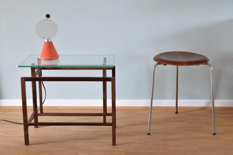 Vintage 3 Dot Stool in Teak and Metal Design Arne Jacobsen for Fritz Hansen For Sale 1
