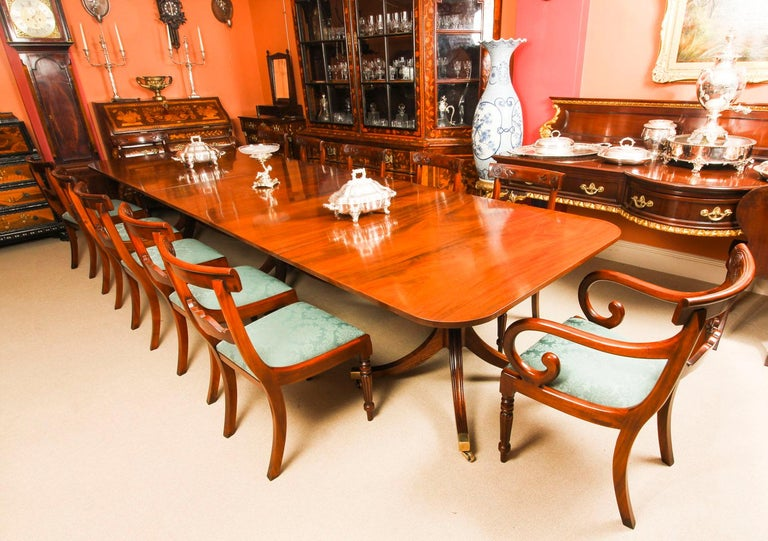 Regency Vintage 3 Pillar Dining Table by William Tillman & 12 dining chairs 20th C For Sale