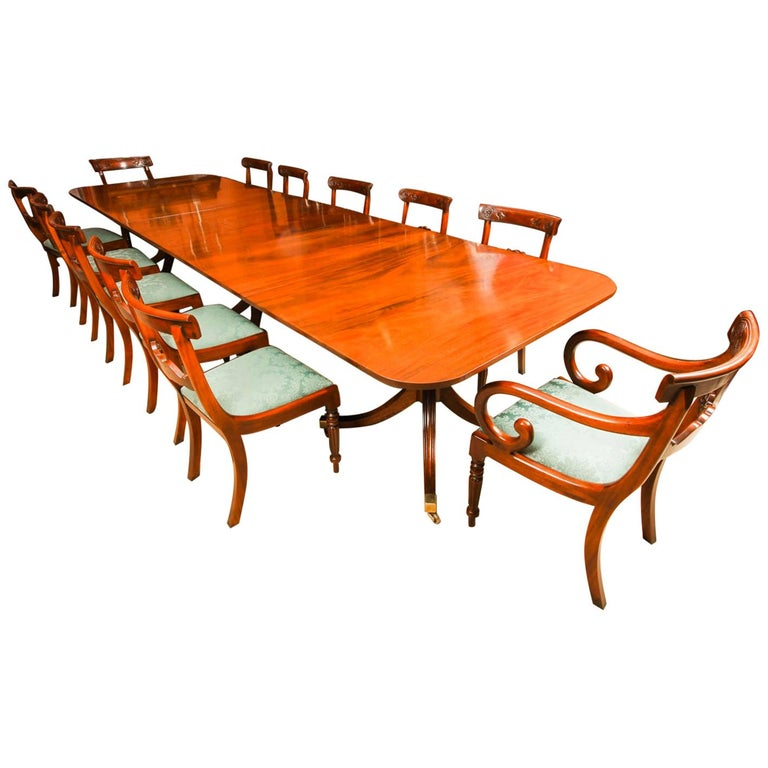 Vintage 3 Pillar Dining Table by William Tillman & 12 dining chairs 20th C For Sale