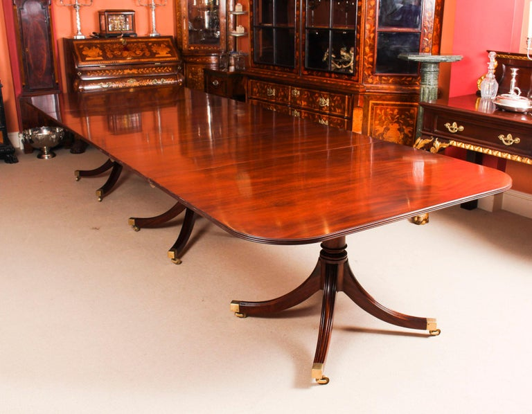 Regency 3 Pillar Dining Table by William Tillman 20th Century & 10 Chairs 19th Century