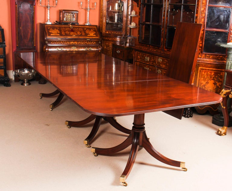 English 3 Pillar Dining Table by William Tillman 20th Century & 10 Chairs 19th Century