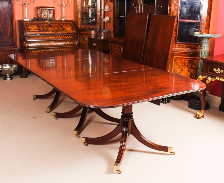 Late 20th Century 3 Pillar Dining Table by William Tillman 20th Century & 10 Chairs 19th Century