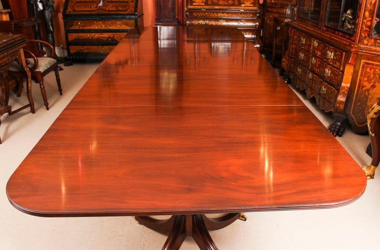 Mahogany 3 Pillar Dining Table by William Tillman 20th Century & 10 Chairs 19th Century